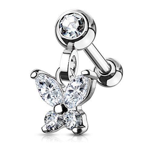 (CZ Butterfly Dangle Jeweled Set Ball 316L Surgical Steel WildKlass Ear Cartilage/Tragus Barbell Studs)