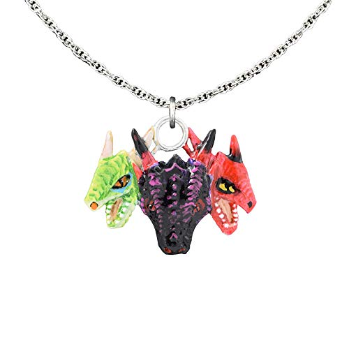 Hand Painted Design Pendants - Three Headed Dragon Pewter Pendant, Necklace, Jewelry, G046PEN (Hand Painted B)