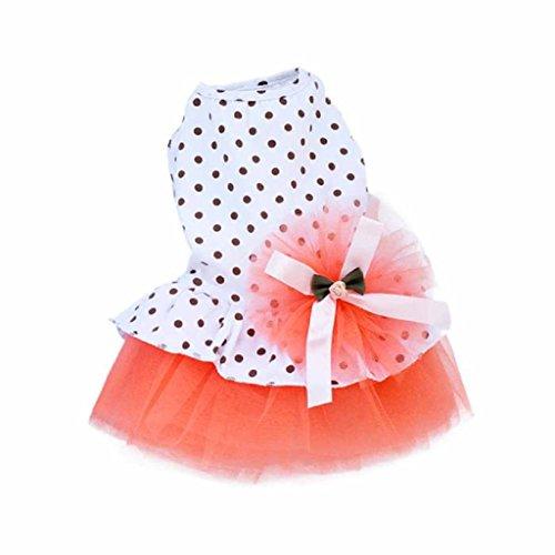 Picture of HP95(TM) Pet Dog Dress, 2015 Romantic, Lovely, Puppy Dog, Princess, Tutu, Dress (L, Orange)