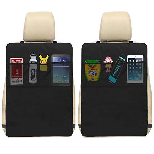 Oetoe Kick Mat Auto Seat Back Protectors + 3 Organizer Pockets – Seat Covers For The Back Of Your Seat 2 Pack, X-Large Car Back Seat Protectors, Backseat Organizer, Kick Guard Seat Saver