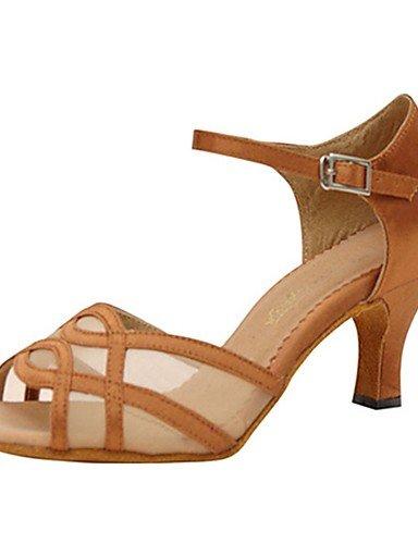 La mode moderne Sandales Chaussures de danse pour femmes personnalisables Satin Satin Latin/Jazz/Swing/chaussures sandales talons Salsa/HeelPractice personnalisés/débutant / Jaune,NOUS,4-4.5/EU34/UK2-