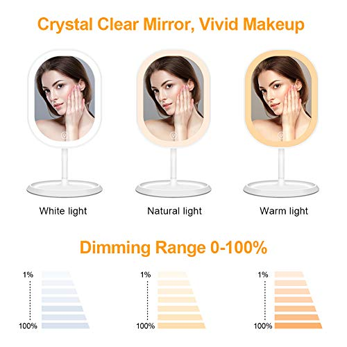 Led Lighted Makeup Mirror with Lights, 3 Mode Light Dimmable Rechargeable Touch Screen Switch, 360 Degrees Free Rotation (White)