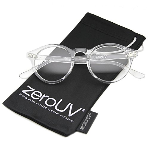 zeroUV - Vintage Inspired Clear Lens Small Circle Round Sunglasses (Clear / - Frame Mens
