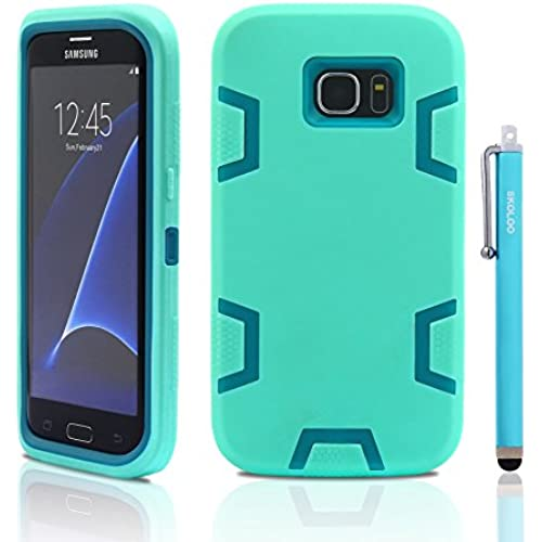 S7 Edge Case, Samsung Galaxy S7 Edge Case, Skoloo Full Body Hybrid Impact Shockproof Defender Case Cover for Galaxy S7 Edge (Blue in Mint Green) Sales