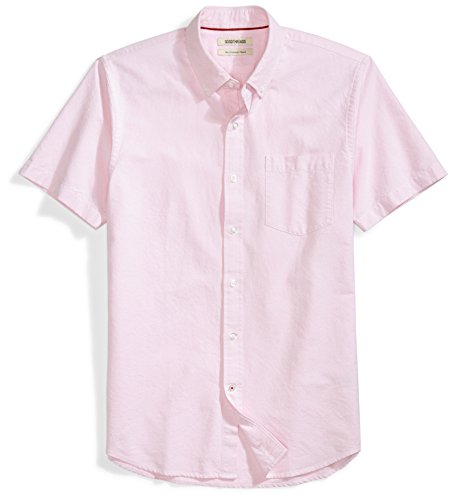 Goodthreads Men's Slim-Fit Short-Sleeve Solid Oxford Shirt with Pocket, Pink, Small ()