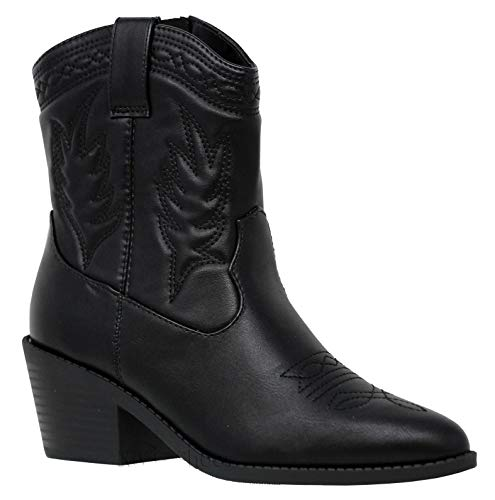 MVE Shoes Women's Cowgirl Style Low Heel Mid Calf Boots, Picotee Black PU 7.5]()