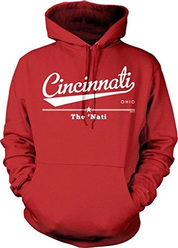 Cincinnati, Ohio, The Nati Hooded Sweatshirt, NOFO Clothing Co. XL Red - Fleece Cincinnati Reds Pullover