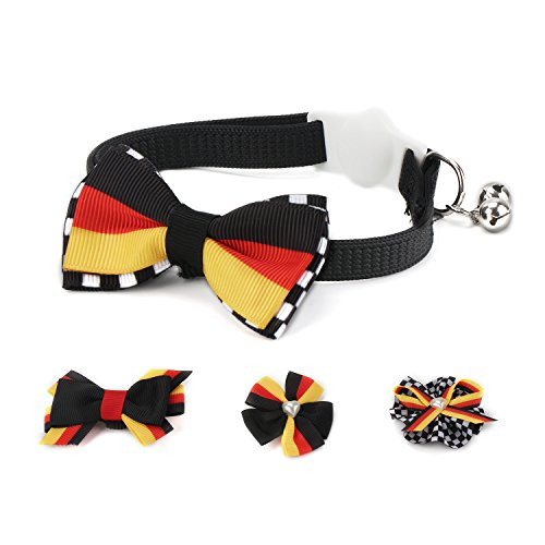Cat Collars, Segarty 4Pcs Cute Breakaway Pet Cat Harness Collar with Different Pattern Bowknot, Adjustable Cat Bow Tie Collar with Bells, Neck 7''-11.3''