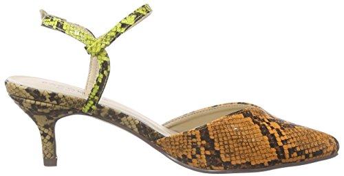 Paco Mena Aloe 2 - Zapatos de Talón Abierto Mujer Varios Colores - Mehrfarbig (Multi Mango/Gelb/Beige)