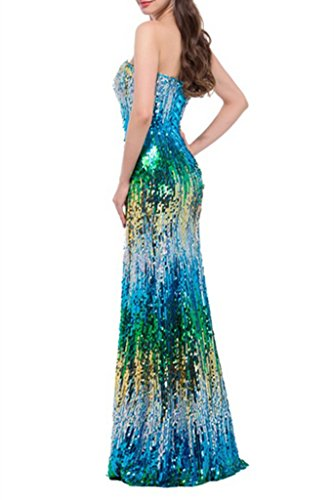 kleidungstücke Celebrity Neue Weiblich Spitzen Spitze bis Damen ärmellos Mermaid emmani Hochzeit Sweetheart Kleider Lange Damen Türkis Fashion Ball Heimkehr Party Pailletten Abendkleider Abend Cocktail Rqzwzp07