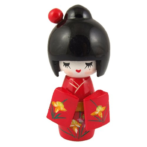 Amico Floral Red Japanese Kimono Smiling Girl Wooden Kokeshi Doll Toy, Baby & Kids Zone