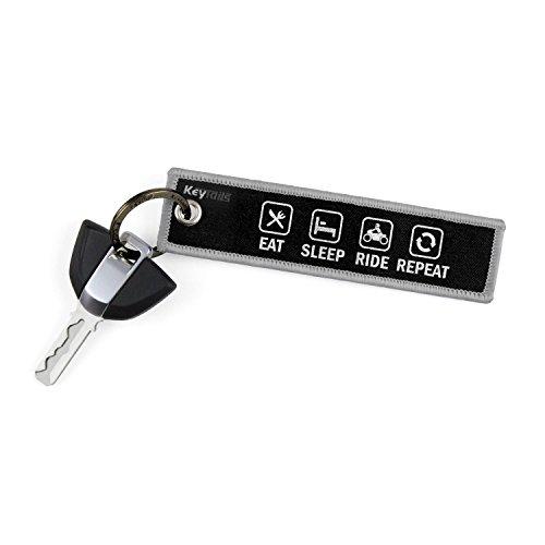 KEYTAILS Keychains, Premium Quality Key Tag for Motorcycle, Car, Scooter, ATV, UTV [Eat Sleep Ride Repeat]