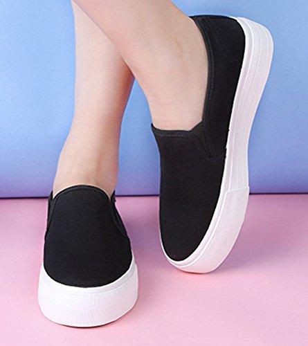 Aisun Féminin Populaire Bout Rond Semelle Épaisse Slip Sur Plate-forme Espadrilles Plate-forme Mocassins Chaussures Noir