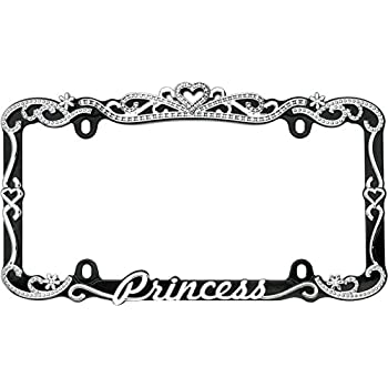 Cruiser Accessories 22635 Chrome/Black Princess License Plate Frame