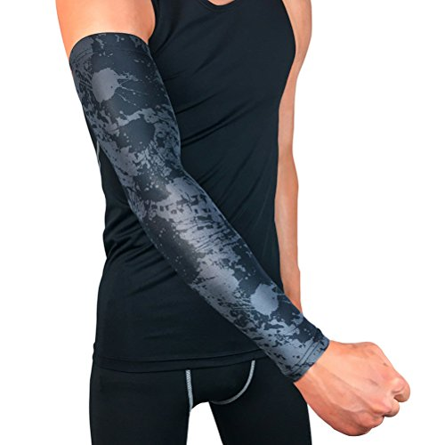 Quner Professional Sports Arm Elbow Wrist Pads Outdoor Basketball Football Long Elbow Sleeves Elastic Protector For Kids Youth Adult 1 Pair size Large (Gun - Gun Elbow