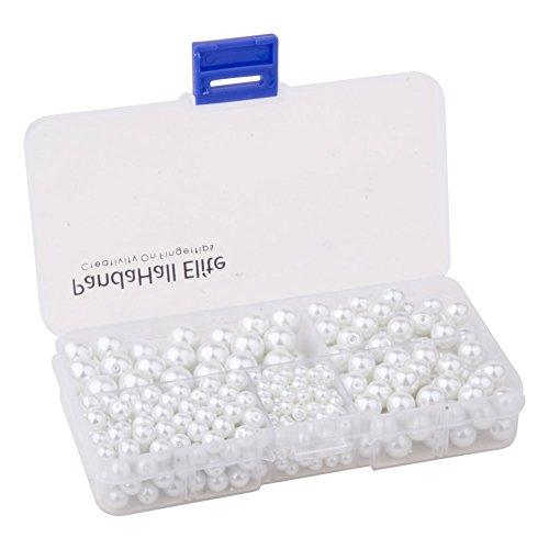 PandaHall Elite White Glass Pearl Round Beads 4mm 6mm 8mm 10mm Various (10mm Glass Pearl Beads)
