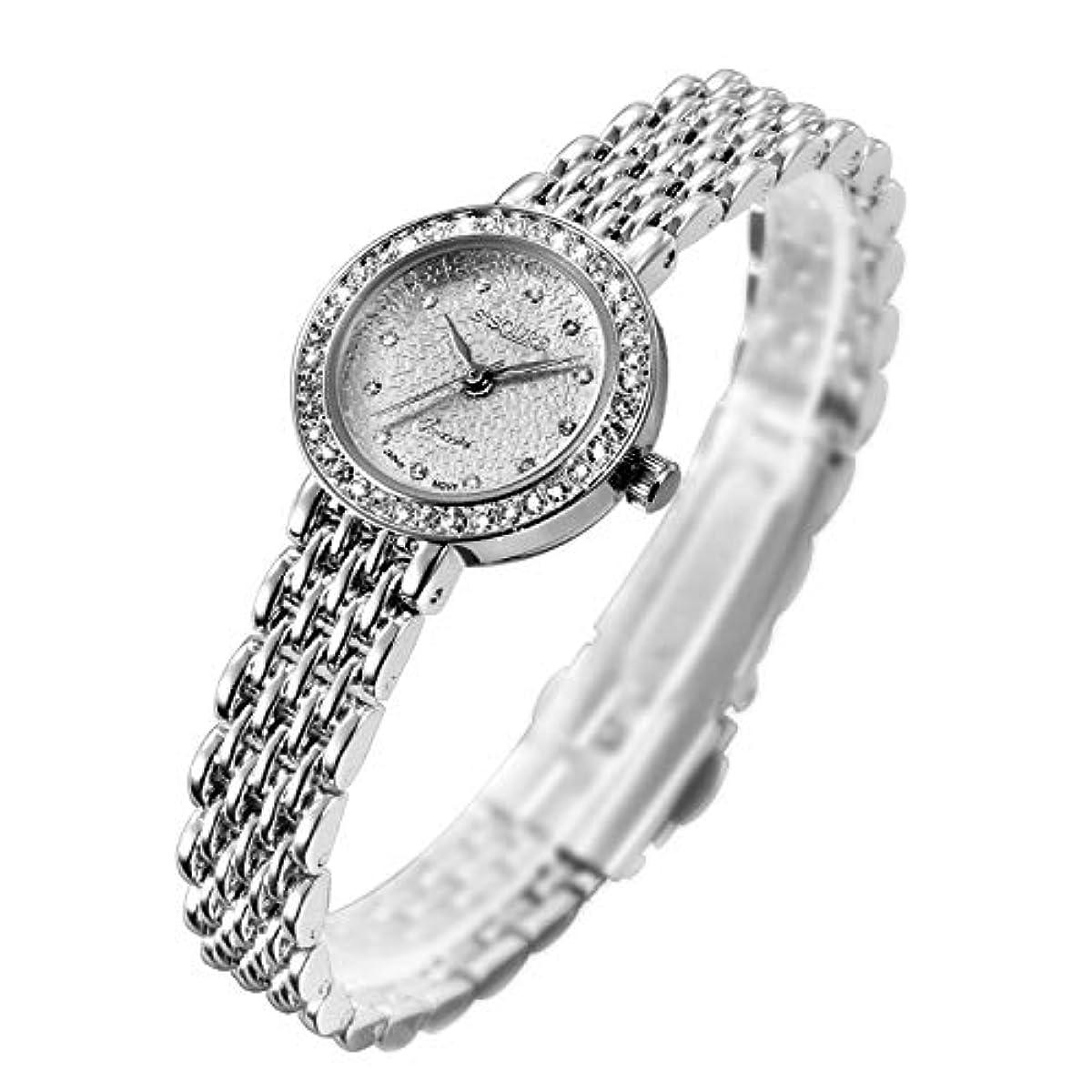 [해외] S2SQURE 손목시계 쿼츠 레이디스 걸즈 반짝반짝 실버 다이어 설계 (화이트)