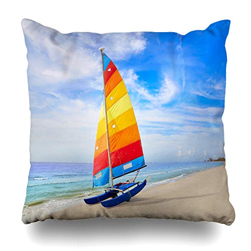Ahawoso Throw Pillow Cover Blue Naples Florida Fort Myers Beach Mexico Catamaran Sailboat Parks American Gulf Waterfront Ocean Zippered Pillowcase Square Size 18x18 Inches Home Decor Pillow Case