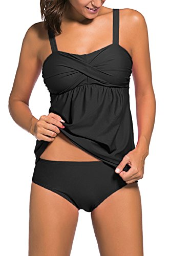 Snowyee Womens Tank Top Bikini Briefs Sets Two-Piece Swimwear Bathing Suits Plus Size Tankini(Black XL)