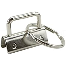 """50 Pack - CleverDelights 1.25"""" Key Fob Hardware Set With Key Rings - For Lanyards Key Chain Wristlets"""
