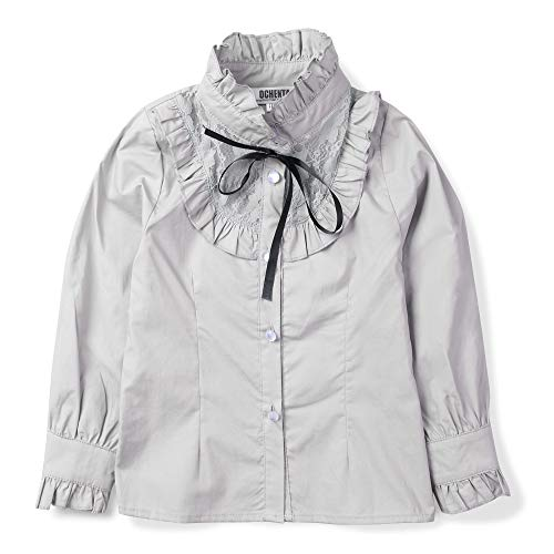 OCHENTA Girls' Princess Lace Collar Uniform Bowknot Blouse, Long Sleeve Ruffle Shirt Grey US 3-4T - Tag 110