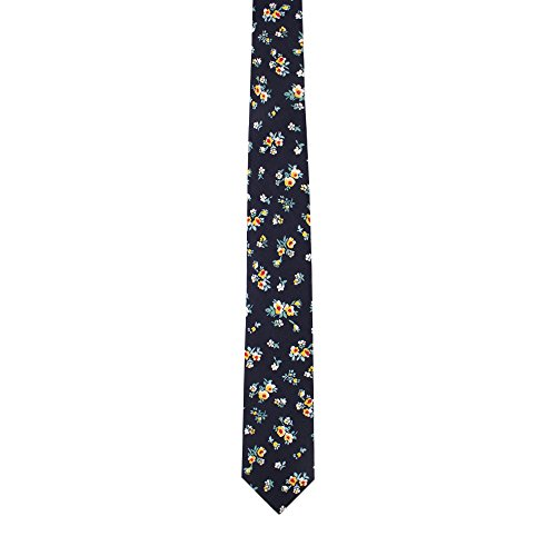 for Work Him for Skinny Ties Navy Gift Floral Men Neckties Ties Floral Birthday Cotton qUYnwAf