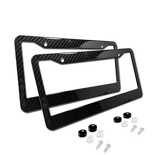 (Billion_Store 2xUniversal Carbon Fiber Style License Plate Frames for Front & Rear The Best Accessories for Cars and Motorcycles)