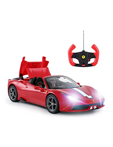 RC Car by Rastar | Radio Remote Control Car 1/14 Scale Licensed Ferrari 458 Special A, Electric Sports Racing Car Toy for Kids, Auto Open & Close, Red
