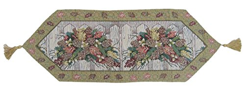 DaDa Bedding TR-6068 Christmas Fiesta Woven Table Runner, 13 by 38-Inch, Floral (Cone Pine Bedding Collection)