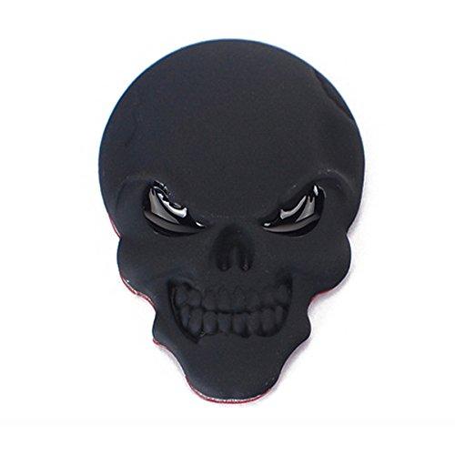 Winomo 3D teschio nero metallo adesivo auto logo emblema distintivo decalcomania