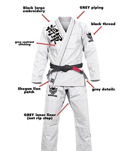 Shogun Fight Jiu Jitsu Gi 'Kanji' 450g Pearl Weave Cotton Premium BJJ, A3 White