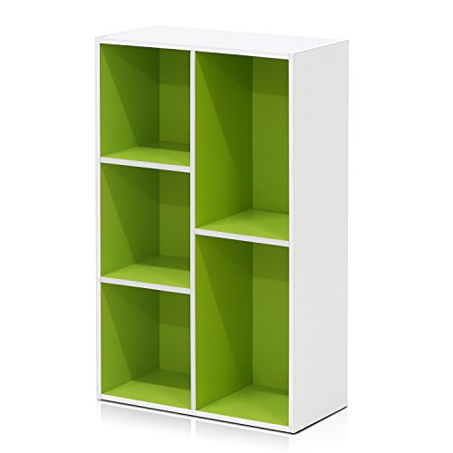 Furinno 5-Cube Reversible Open Shelf, White/Green 11069WH/GR - Low White Green