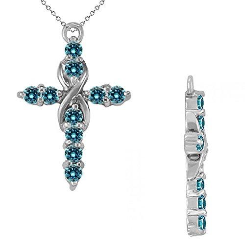 (Jascina 1.0 Carat Blue Diamond Infinity Cross Religion Pendant Necklace with 18