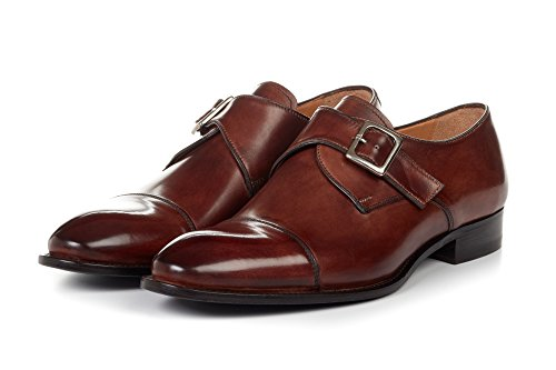 Men's Olivier Single Monk Strap Dress Shoes, Italian Calfskin Leather - Marrone