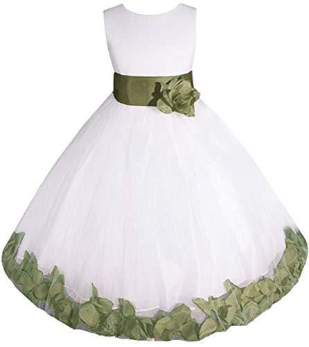 AMJ Dresses Inc Little-Girls' White/sage Flower Girl Dress E1008 Sz 6