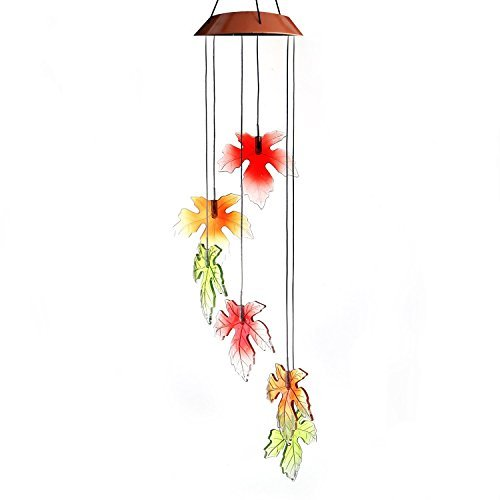 ixaer Colorful Maple Leaves Wind Chimes Solar Chime Color Changing LED Glowing Lights Portable Decorative Windbell Chime for Patio, Deck, Yard, Garden, Home, Pathway Creative Gift