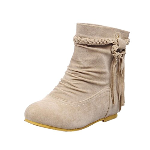 erthome Women's Autumn Casual Section Braid Tassel Frosted Boots Knot Low Heels Ankle Boots Beige y2HkAO
