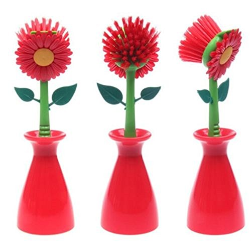 1-pcs-cleaning-brush-sun-flower-shape-pan-pot-dish-washing-brush-kitchen-cleaning-tool-red
