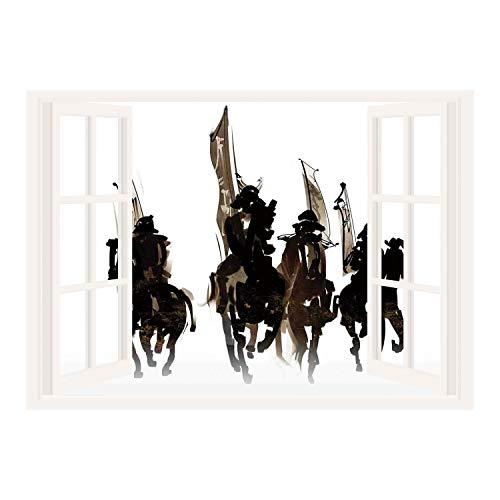 Cavalier Toile Wallpaper - SCOCICI Window Mural Wall Sticker/Japanese,Silhouette of Cavalier Army on Black Horses Goes to War Loyalty to Master Graphic,Black Brown/Wall Sticker Mural