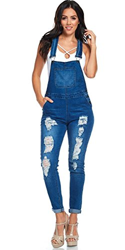 TwiinSisters Women's Destroyed Stretch Twill Browyn Overalls Size Small to 3X Multi Styles (Medium, Blue #rjho432)