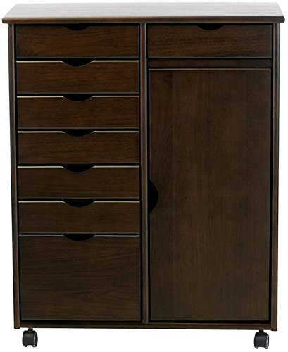 Stanton 7 + 1 Drawer Double wide Storage Cart With Door, 35.5''x29''Wx14''D, CHESTNUT by Home Decorators Collection