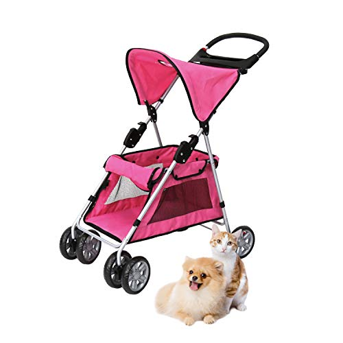 Worldrich 4 Wheels Pet Stroller Cat Dog Cage Stroller Travel Folding Carrier, Strong and Stable