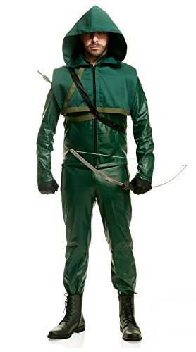 Green Arrow Tv Show Costume - Men's Officially Licensed Arrow Costume Green (Small)