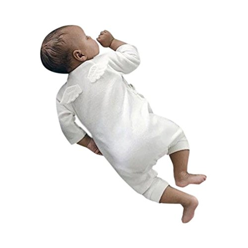 (Kehen Newborn Unisex Baby Girl Boy Angel Wings Romper Cotton One Peice Long Sleeve Bodysuit Pajamas Outfits (White, 12-18)