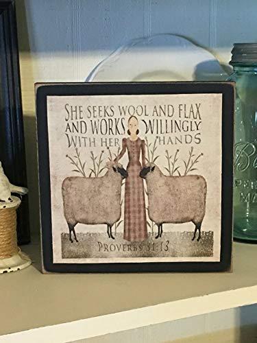 Farmhouse Decor,Folk Art,Primitive Decor, Wool and Flax Art, Primitive Sheep, Primitive Sign, Wood Sign, Primitive Country Decor 8 x 8 inch
