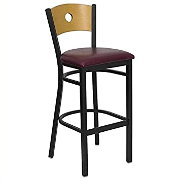 Flash Furniture HERCULES Series Black Circle Back Metal Restaurant Barstool – Natural Wood Back, Burgundy Vinyl Seat