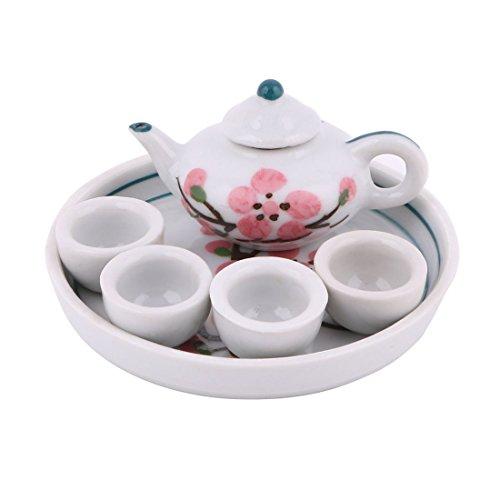 Plum Blossom Bottle (uxcell Ceramic Plum Blossom Printed Mini Plate Teapot Cup Tea Set Pink White)