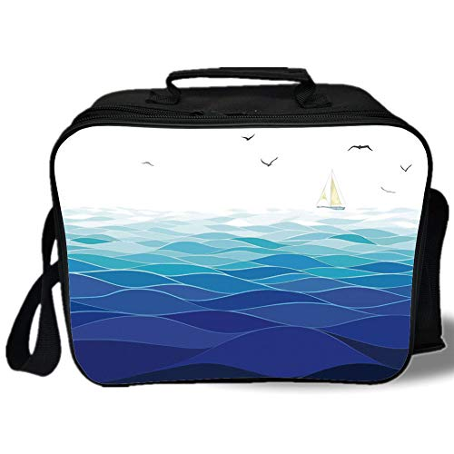 Aqua 3D Print Insulated Lunch Bag,Graphic Ocean Waves Sailboat with Birds Seagulls Seascape Horizon Maritime,for Work/School/Picnic,Navy Blue Aqua White