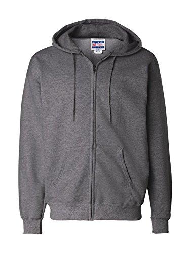 Hanes Men's Full Zip Ultimate Heavyweight Fleece Hoodie, Charcoal Heather, X-Large Front Pocket Zip Hoodie