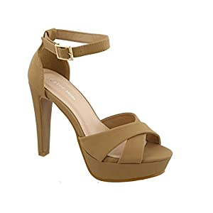 Top Moda Skyler-2 Women's Ankle Strap with Crisscross High Heel Sandals (7, Tan)